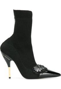 Ermanno Scervino Ankle Boot Com Aplicação - Preto