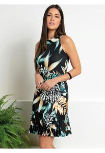 Vestido Floral Preto Com Babado Na Barra