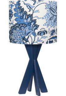 Abajur Nara De Mesa Com Cúpula Em Tecido Floral E Base Tripé Em Madeira Mdf 46X25 - Carambola