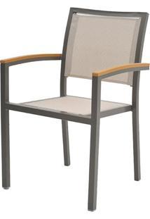 Cadeira Flex Com Bracos Tela Bege Base Marrom - 38685 - Sun House