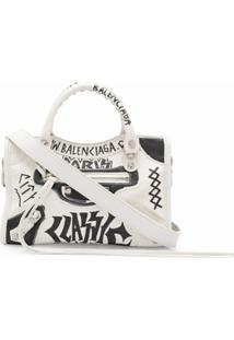Balenciaga Bolsa Tote Hourglass Com Estampa De Grafite - Branco