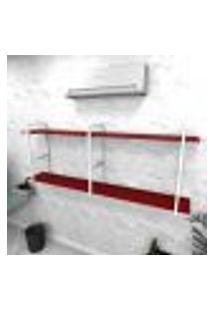 Estante Industrial Escritório Aço Cor Branco 180X30X68Cm Cxlxa Cor Mdf Vermelho Modelo Ind37Vres