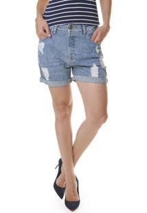 Bermuda Jeans Multi Ponto Denim Boyfriend Azul