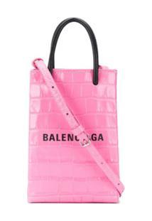 Balenciaga Porta-Celular Shopping - Rosa