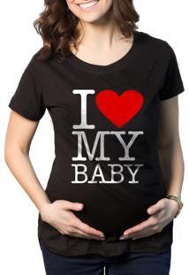 Camiseta Criativa Urbana Gestantes - Grávidas Love Baby Preto