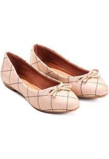 Sapatilha Napa Mizzi Shoes Matelassê Bicolor Com Lacinho Feminina - Feminino-Bege