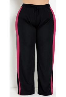 Calça Preta E Pink Pantalona Plus Size