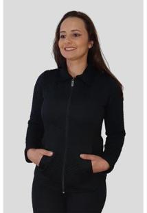 Jaqueta Tomasini Tricot Metalassê Feminina - Feminino-Preto