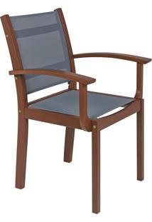 Cadeira Com Braços De Madeira Tramontina 13872/076 Fitt Tela Cinza