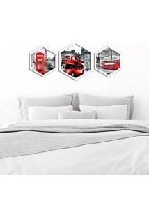 Kit 3 Quadros Com Moldura Hexagonal London