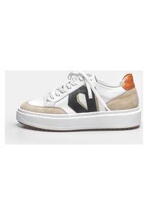Sneaker Smidt Diamond - White, Off White, Preto & Orange