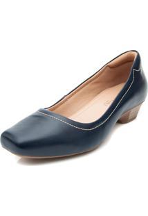 Sapato Pattini Confort Em Couro Azul Marinho