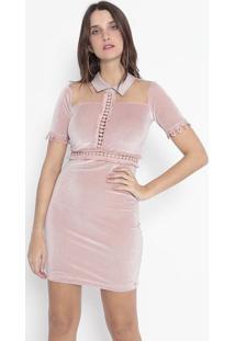Vestido Aveludado Com Tule - Rosa Claro - Kilometro Km2