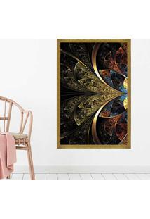 Quadro Love Decor Com Moldura Vitral Abstrato Dourado Grande
