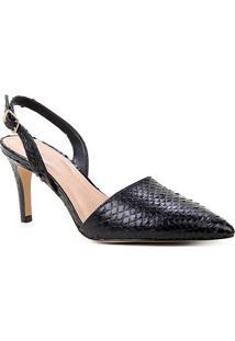 Scarpin Couro Shoestock Slingback Cobra Salto Médio - Feminino-Preto