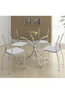 Mesa 375 Com Vidro Incolor Cromada Com 4 Cadeiras 1700 Branca Carraro
