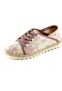 Tênis Scarpan Calçados Finos Em Tecido/Paetê Rosa E Branco