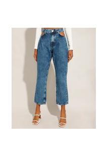 Calça Jeans Feminina Reta Cintura Alta Marmorizada Cut Out Azul Médio