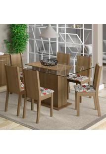 Conjunto Sala De Jantar Madesa Molly Mesa Tampo De Vidro Com 6 Cadeiras Marrom - Tricae