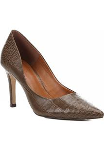 Scarpin Couro Shoestock Alto Bico Fino Croco - Feminino-Caramelo