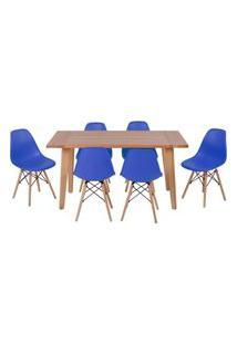 Conjunto Mesa De Jantar Em Madeira 150X80 Vértice + 6 Cadeiras Eiffel - Azul