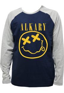Camiseta Alkary Raglan Manga Longa Nirvana Marinho E Mescla