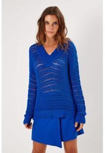 Blusa Tricot Ponto Trançado Sacada Feminina - Feminino-Azul Royal