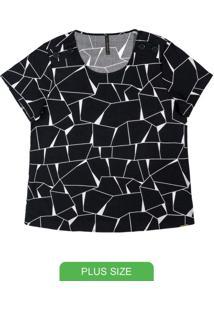 Blusa Com Estampa Geométrica Preto