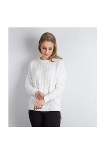 Blusa De Malha Com Tranças Sumaré 31222 - Branco