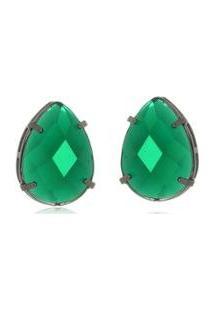 Brinco Le Diamond Gota Em Resina Verde - Feminino