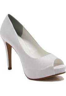 Sapato Peep Toe Zariff Shoes Noivas - Feminino-Branco