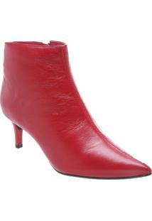 Bota Lisa Em Couro- Vermelha- Salto: 6Cmarezzo & Co.