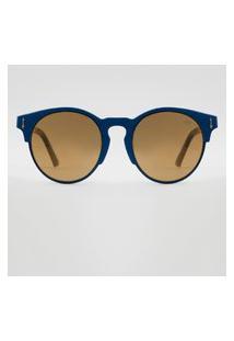 Óculos De Sol Redondo Feminino Yessica Azul Escuro