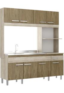 Cozinha Compacta 8 Portas 1 Gaveta Tulipa Decibal Moveis Malbec/Wood