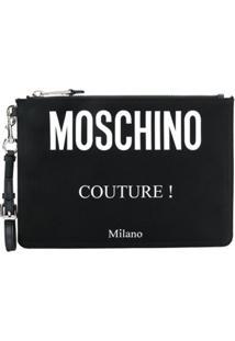 Moschino Bolsa Clutch Com Logo - Preto