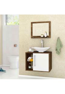 Conjunto Para Banheiro Baden - Bechara - Madeira Rústica / Branco