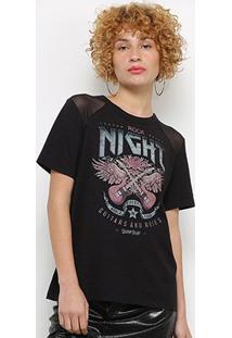 Camiseta Colcci Tule Guitarra Feminina - Feminino-Preto