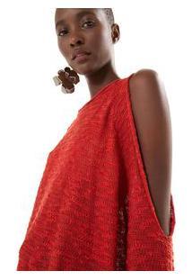 a4f5a866f R$ 139,00. Off Premium Suéter Vermelho Feminino Farm Flame Premium Vazado  Sweater Ombro Jambu