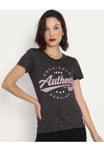 "Camiseta ""Coca-Cola Authentic®""- Cinza Escuro & Rosacoca-Cola"