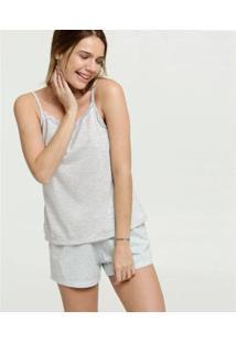 Conjunto De Pijama Marisa Alças Finas Feminino - Feminino-Cinza
