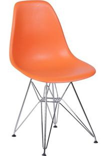Cadeira Eames Dkr- Laranja & Prateada- 80,5X46X42Cm