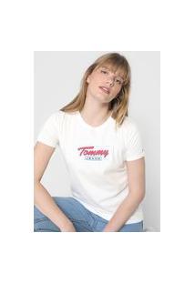Camiseta Tommy Jeans Logo Off-White