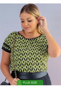 Blusa Em Tecido Com Estampa Verde