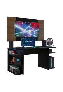 Mesa Gamer Madesa 9409 E Painel Para Tv Até 58 Polegadas - Preto/Rustic Preto