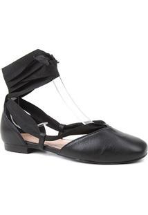 Sapatilha Couro Shoestock Lace Up Feminina - Feminino-Preto
