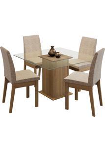 Sala De Jantar Madesa Laila Mesa Tampo De Vidro Com 4 Cadeiras