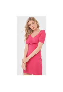 Vestido Colcci Curto Canelado Rosa