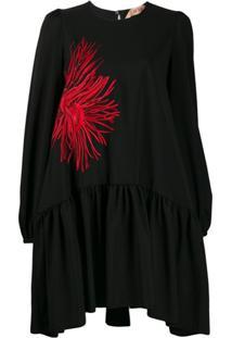 Nº21 Vestido Com Bordado Floral - Preto