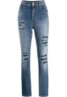 Just Cavalli Calça Jeans Com Efeito Desgastado - Azul
