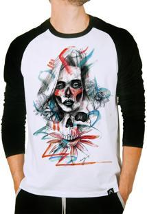 Camiseta Artseries Manga Longa Raglan Caveira Mexicana Com Rosto De Mulher Colorida Branco
